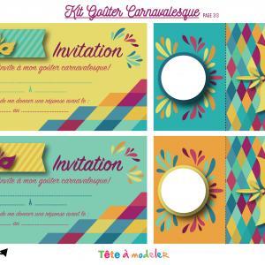 Invitations et marque places à imprimer pour le Carnaval