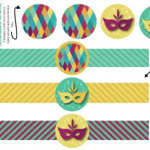 Ronds de serviette et décos de gobelet à imprimer pour le Carnaval