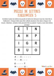 Sur cette grille de lettres votre enfant devra retrouver 4 mots de vocabulaire lié à l'univers de la peur, la peur lié à la fête d'Halloween. Les initiales et quelques lettres offertes aideront votre enfant à trouver les 4 mots.
