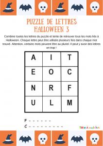 """Une grille de lettres à associer pour former deux mots du vocabualire d'Halloween. 12 lettres sont proposées pour découvrir deux mots commençant par les lettres """"F"""" et """"C"""". Un jeu pour progresser en français."""