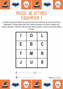 Imprimez cette grille de lettres et laissez votre enfant retrouver les deux mots de vocabulaire d'Halloween cachés. Les initiales et le nombre de lettres pour chaque mot sont indiqués.