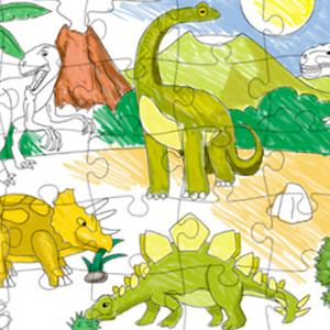 Un puzzle pour jouer avec les dinosaures, le puzzle des dinosaures est à colorier avant de pouvoir jouer. Jouer avec un puzzle est bon pour le repérage spatial, la discrimination visuelle et la représentation mentale. Certains enfants n'aiment pas jouer a