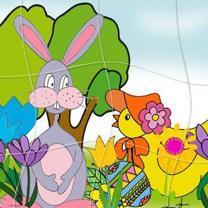 Puzzle du lapin de Paques et de la poule de Pà¢ques. Un puzzle de 12 pièces gratuit, ce puzzle de Pà¢ques est à coller et découper, tout simplement