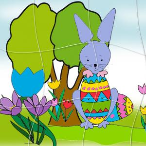 Puzzle du petit lapin de Paques et son oeuf. Un puzzle de Pà¢ques à imprimer : le petit lapin et son gros oeuf de Pà¢ques !