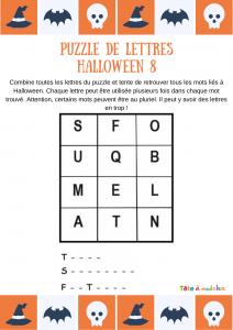 Votre enfant sera-t-il capable de reconstituer les mots tombe, squelette et fantome en utilisant les lettres et seulement les lettres de la grille qui lui est proposée ?