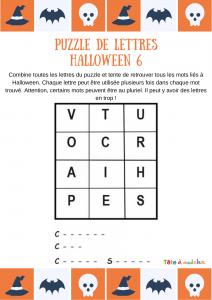 Une grille de jeu facile pour écrire trois mots du vocabulaire d'Halloween. Un puzzle de lettres à imprimer pour jouer avec les lettres et les mots.