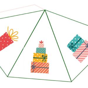 Un bricolage de Noël en papier à imprimer, à découper et à assembler pour le jeu ou les décorations de Noël
