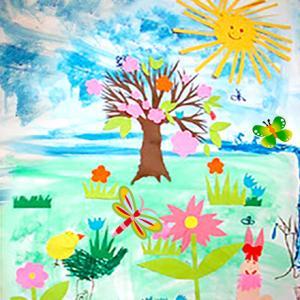 Activité pour réaliser un tableau sur le thème du printemps en utilisant la technique du collage. L'activité est facile pour les plus jeunes.