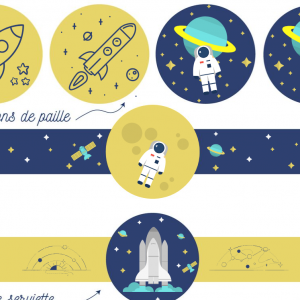 Printable gouter pour anniversaire sut un thème espace à imprimer gratuitement. Des ronds de serviette et des décorations de paille pour un gouter inoubliable lors d'un anniversaire spatial..