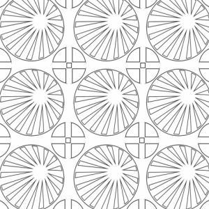 Coloriage d'une composition géométrique réalisée avec des soleils inspirés librement des soleils japonnais. Une composition de soleil géométrique pour laisser vagabonder votre pensée et laisser parler votre sens artistique. Un coloriage gratuit po