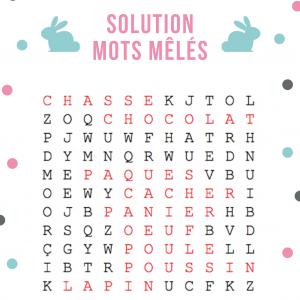 Solution du jeu de mots mêlés de niveau facile où il faut retrouver les mots de Pâques cachés dans cette grille.