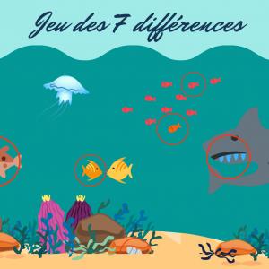 Solution du jeu des erreurs : mer et poisson multicolore : les 7 différences entre l'image du haut et du bas sont signalées par des ronds