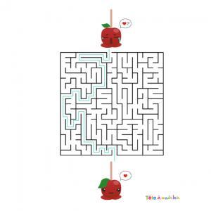 La réponse au labyrinthe de Saint Valentin très drôle à faire durant la Saint Valentin ! Aider la pomme d'amour à trouver son amoureux afin qu'ils soient rassemblés pour toujours. Imprimez la feuille et proposer à votre enfant de résoudre ces énigmes.
