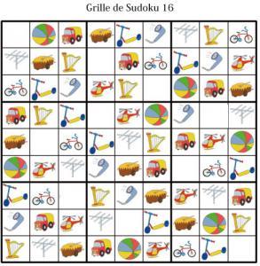 Grille de sudoku pour la maternelle. cette grille de sudoku est à compléter en collant les visuels de fruits et légumes. Grille de Sudoku 16 à compléter en collant les vignettes d'objets