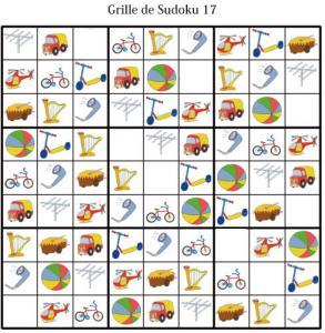 Grille de sudoku pour la maternelle. cette grille de sudoku est à compléter en collant les visuels de fruits et légumes. Grille de sudoku 17 à compléter en collant les vignettes d'objets