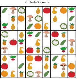 Grille de sudoku pour la maternelle. cette grille de sudoku est à compléter en collant les visuels de fruits et légumes. Grille de sudoku à compléter en collant les visuels de fruits et lég