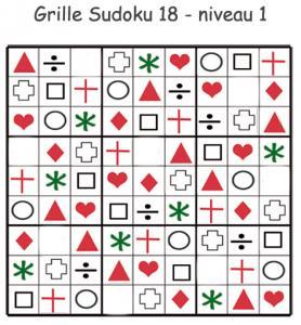 Grille de sudoku pour les enfants de maternelle réalisée avec des visuels géométriques. cette grille de sudoku est à compléter en collant les visuels de fruits et légumes. Grille
