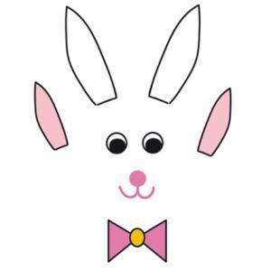 Tous les éléments constituant la tête du lapin en boite sont déjà mis en couleur, il suffit de les imprimer sur du papier de couleur ou de la carte blanche. Tous les éléments sont à découper et à coller sur le dessus de la boite carrée.
