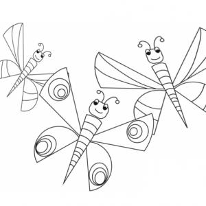 Voici trois gros papillons ayant déployé leurs ailes dans les airs ! Un dessin à imprimer pour colorier les papillons.