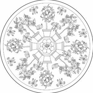 Coloriage d'un verger en été organisé en mandala. Amusez-vous à colorier les arbres et les animaux de ce verger et abandonnez-vous pour un court instant de relaxation ! Un coloriage mandala d'arbres fruitiers et de papillons à imprimer pour la relaxa