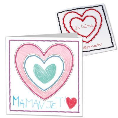 Carte coeur brodée et coloriée