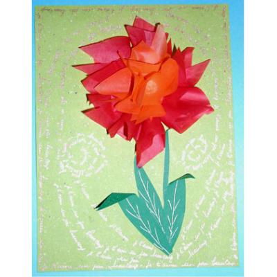 Carte fleur réalisée avec du papier de soie. rapide et facile à faire elle produit beaucoup d'effet.