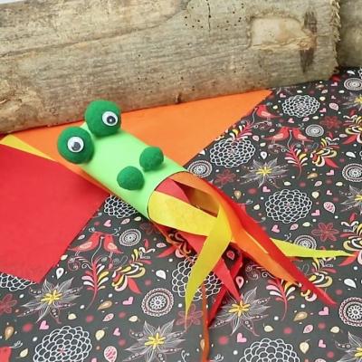 tuto pour bricoler avec les enfants un dragon en rouleau de papier toilette