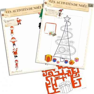 Des jeux gratuits à imprimer pour Noël : jeux de labyrinthes, des jeux pour compter, des jeux de comparaison, des jeux d'ombre ... tous ces jeux ont un point commun : Noël