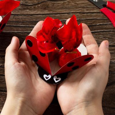 Activité de printemps pour fabriquer une coccinelle en papier. Cette activité très simple est parfaite pour fêter le Printemps. Elle est faite en papier et permet d'offrir des bonbons de manière originale.