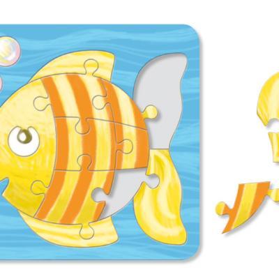 Coloriage d'un puzzle poisson 14 pièces