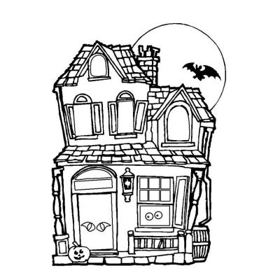 Coloriage Maison Hantée à Imprimer Avec Tête à Modeler