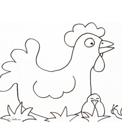 Coloriages poussins et coloriages de poules de Pâques