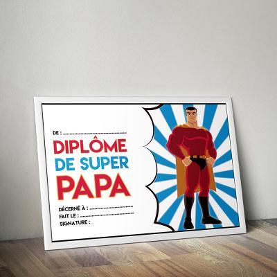 Un diplôme à télécharger, imprimer et à remplir pour offrir à la Fête des pères. Ce diplome fete des peres est sur le thème des super héros. Un cadeau idéal et qui fera plaisir à tous les papas ! Un diplôme qui peut être encadré et accroché sur un mur de