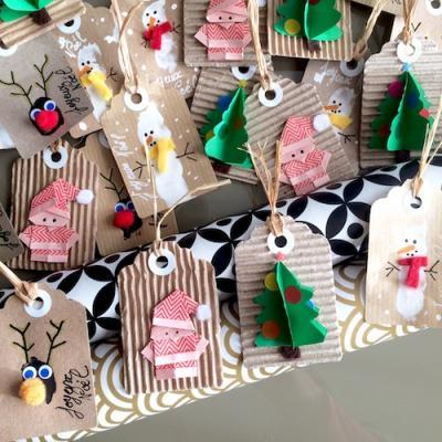 Des idées pour fabriquer vos étiquettes de Noël à fabriquer maison avec les enfants
