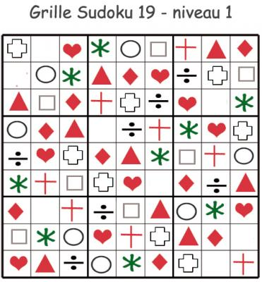 Grille de sudoku à visuels géométriques. Sudoku pour la maternelle. cette grille de sudoku est à compléter en collant les visuels de fruits et légumes. Grille de sudoku 19 à comp