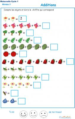 Imprimer l'exercice d'additions 1 maternelle niveau 3
