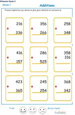 Imprimer les additions en colonne 2 chiffres  fiche 1