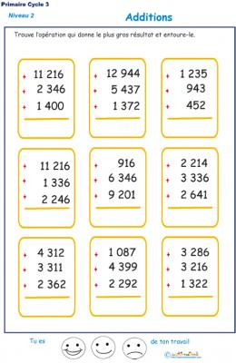 Imprimer les additions en colonne 3 chiffres  fiche 2