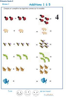 Imprimer la  fiche d'additions de 1 à 5 - exercice 1