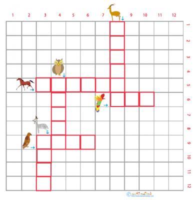 Imprimer la grille de mots croisés sur les animaux grille 5 pour le primaire cycle 2