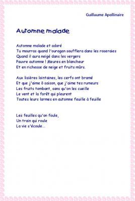 """Imprimer la Poésie """" Automne malade """" d'Apollinaire"""
