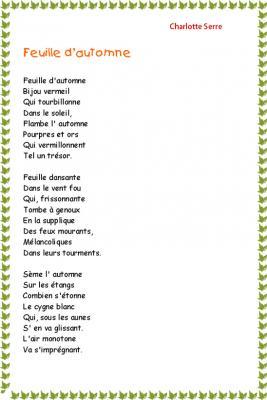 """Imprimer la Poésie """" Feuille d'automne  """" de Charlotte Serre"""