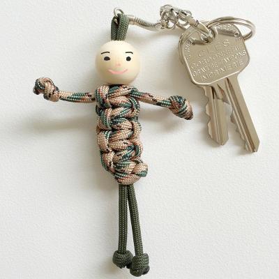 Ce porte-clefs très mode et rigolo est réalisé en paracorde, la nouvelle tendance de l'année ! Pour réaliser un porte-clés bonhomme en paracode votre enfant devra réaliser toute une série de n?ud avec des cordelettes de couleur. A chacun d'imagine