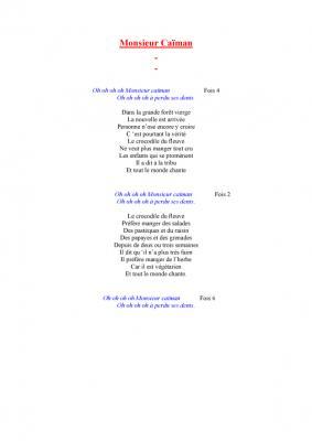 chanson -   Monsieur caïman