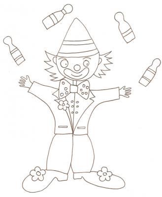 dessin d'un clown jonglant avec des quilles à colorie