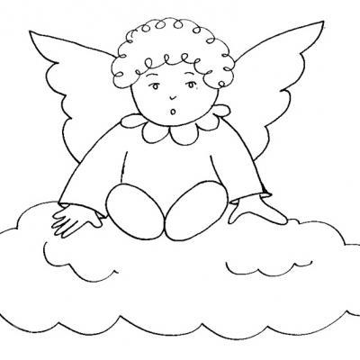 Coloriages  du père noël est des anges à imprimer