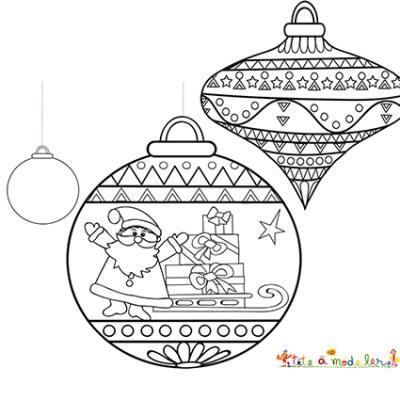 Des dessins à imprimer avec des boules de Noël