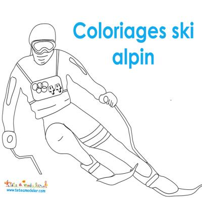 Coloriage ski alpin