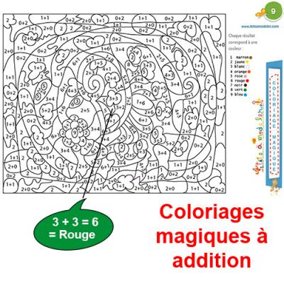 Coloriage Magique Calcul Addition.Coloriages Magiques A Addition Tete A Modeler