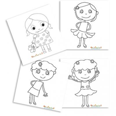 Coloriage Petites Filles Coloriages Filles Tête à Modeler